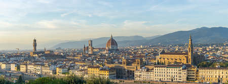 Panorama view of Florence skyline with view of Duomo of Florence in Tuscany, Italy.
