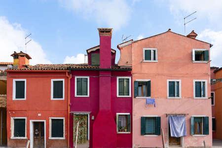 Colorful buildings in Burano island in Venice, Italy.