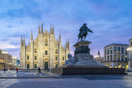 Duomo of Milan with nice sky at twilight time in Milan, Italy.