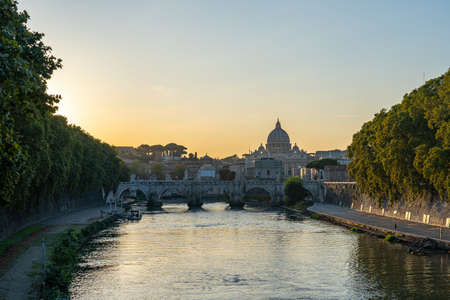 Sunset view of Vatican city in Rome, Italy.