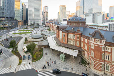 Sunset view with Tokyo Station in Tokyo, Japan. 版權商用圖片