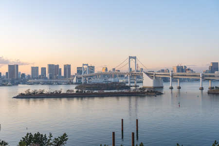 Tokyo cityscape skyline with view of Tokyo Bay in Japan.