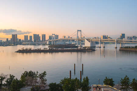 Sunset view of Odaiba in Tokyo city, Japan.