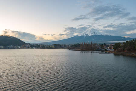 Fujisan Mountain with view of lake Kawagushiko in Japan.