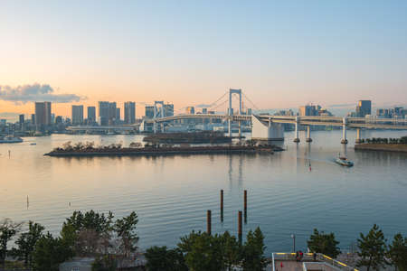 Panorama view of Tokyo Bay at sunset in Tokyo city, Japan.