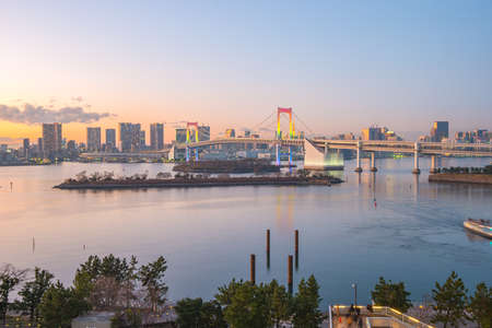 Panorama view of Tokyo Bay at twilight in Tokyo city, Japan. 版權商用圖片