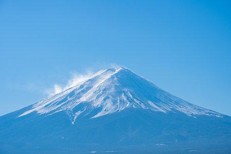 Close up view of Mount Fuji in Yamanachi, Japan.