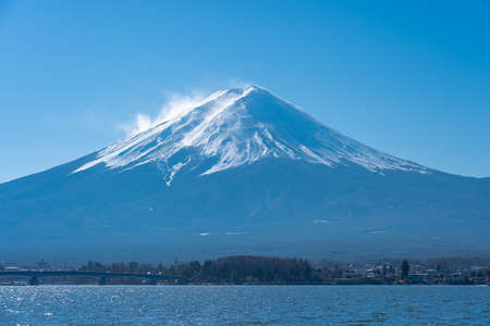 Close up view of Mount Fuji with Lake Kawaguchiko in Japan.