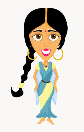 blue dress: beautiful Indian girl in a blue dress. vector illustration