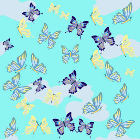 gently blue: butterflies fly and clouds on a blue background. vector illustration