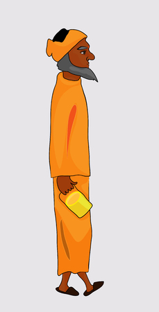 ascetic: India man from the caste of Brahmins in the orange dress.vector illustration