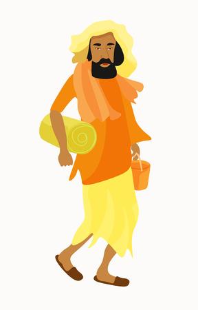 sadhu: Indian Yogi man in the orange garb. vector illustration Illustration