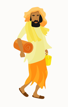 yogi: Indian Yogi man in white garb. vector illustration Illustration