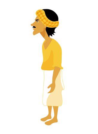 Indios estilizado hombre adulto en una amarilla. ilustración vectorial
