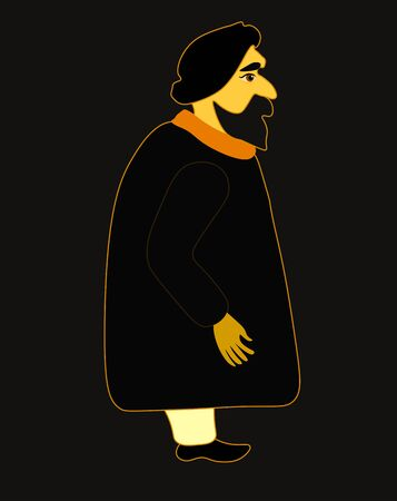 hindus: indium man in a black robe and wearing a turban. vector illustration Illustration