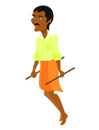 indium: Rickshaw man indium at work and transport. vector illustration Illustration