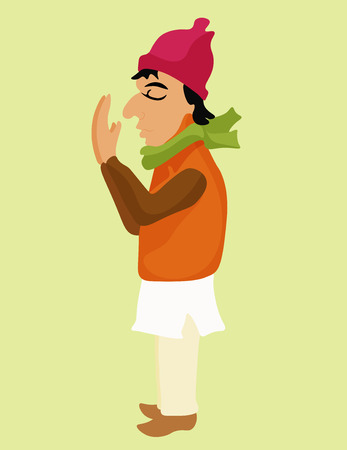 indium: indium tanned man prays in a cap. vector illustration