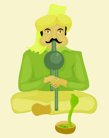 charmer: snake charmer playing a musical instrument and dancing snake. vector illustration