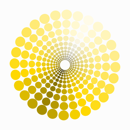 transient: color circle shades of yellow pattern. vector illustration