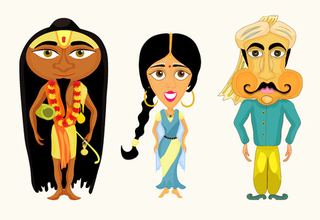 yogi: India set a girl, a man and a yogi. vector illustration Illustration