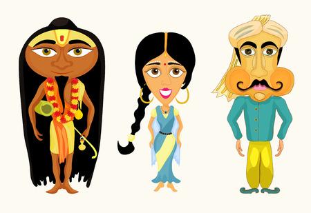 sadhu: India set a girl, a man and a yogi. vector illustration Illustration