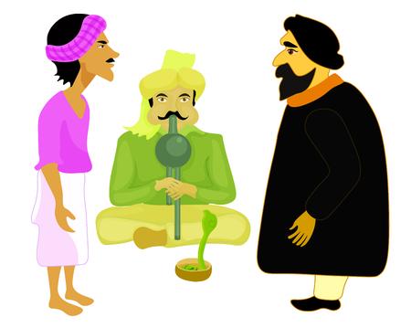 charmer: India set male snake charmer. vector illustration Illustration
