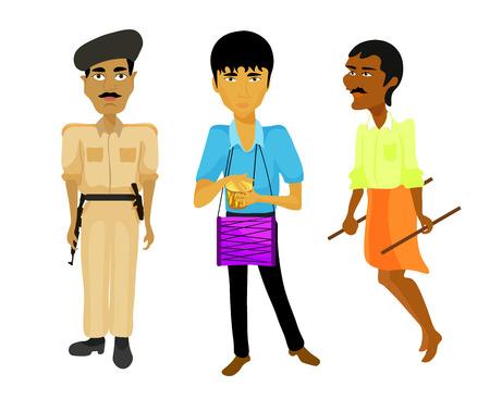 jailer: India set a police man, musician, rickshaw. vector illustration Illustration