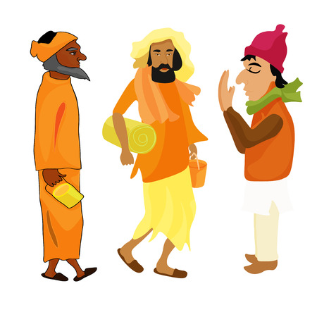 wandering: Indian set Yogi man in the orange garb. vector illustration