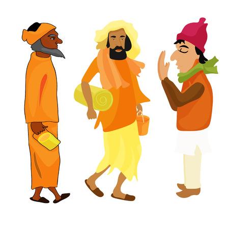 sadhu: Indian set Yogi man in the orange garb. vector illustration