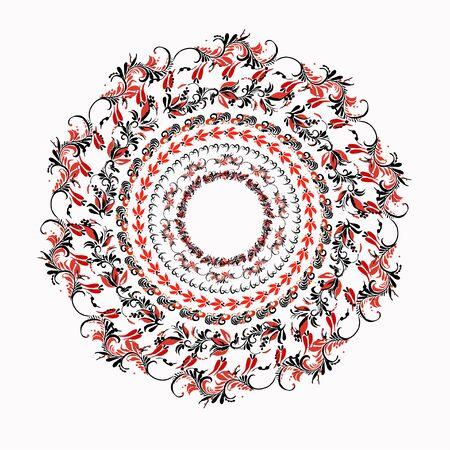 hohloma: hohloma round red black pattern on a white background. vector illustration