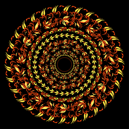 hohloma: hohloma traditional round red yellow pattern on a black background. vector illustration
