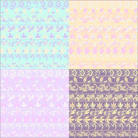 hohloma: hohloma seamless pattern set bright. vector illustration