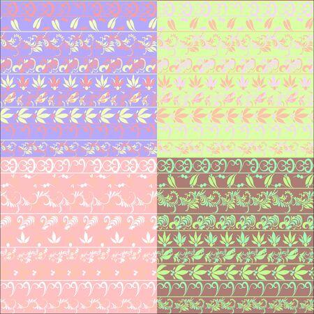 hohloma: hohloma seamless pattern set brown. vector illustration