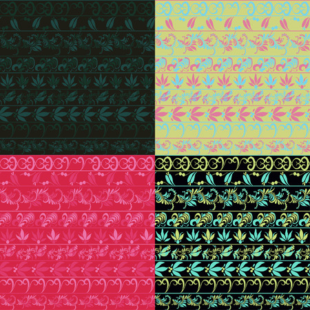 pink and black: hohloma seamless pattern set pink, black. vector illustration