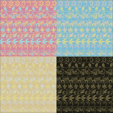 hohloma: hohloma seamless pattern set pink, blue. vector illustration