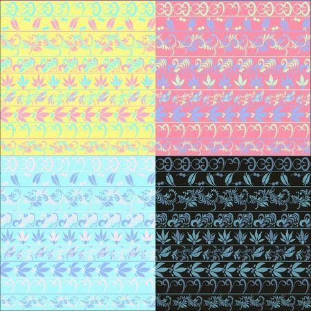 hohloma: hohloma seamless pattern set blue pink black. vector illustration