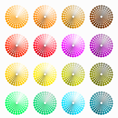 transient: a set of circular colored orange, red. vector illustration