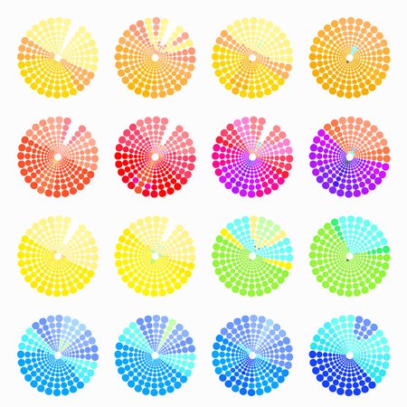 transient: Set circular color different shades of blue. vector illustration