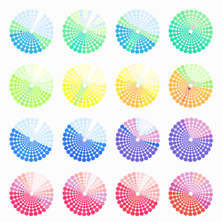 transient: Set circular color different shades of light. vector illustration