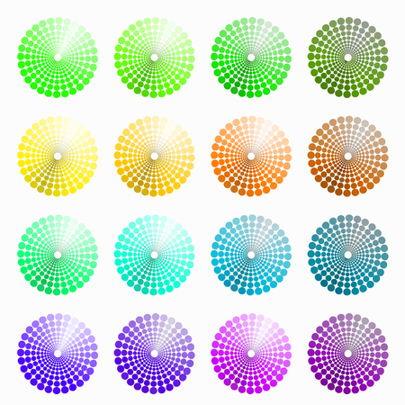 transient: a set of circular colored green, yellow. vector illustration