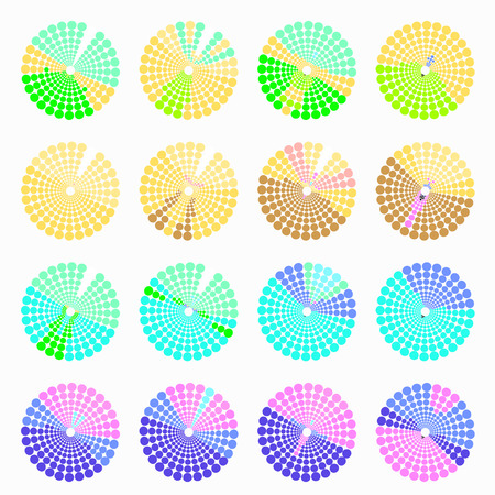 transient: Set circular color different shades green. vector illustration