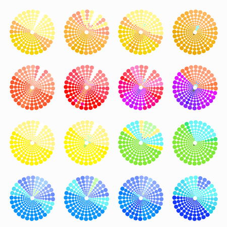 transient: Set circular color different shades of light yellow. vector illustration