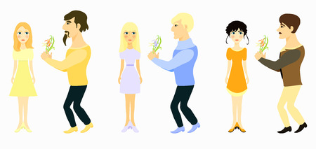 glamorous couple: set couple man gives flowers and girl vector illustration