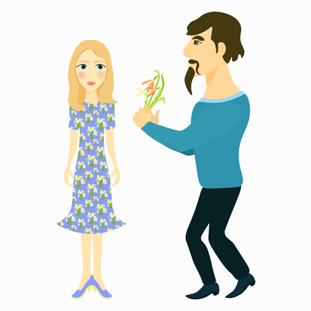glamorous couple: couple man gives flowers and girl blue vector illustration