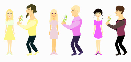 glamorous couple: set couple man gives flowers and girl yellow vector illustration