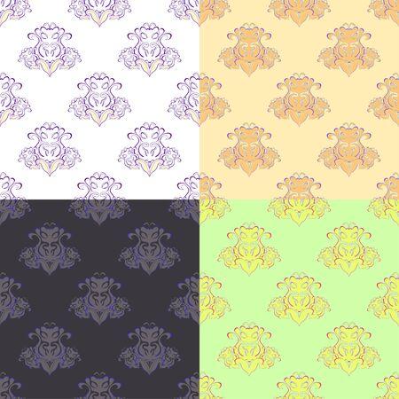 brocade: solemn green orange pattern seamless vector illustration Illustration