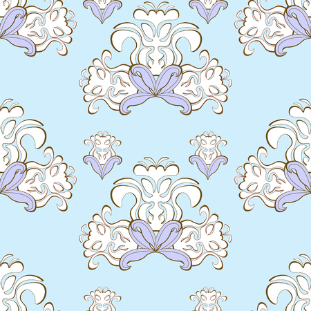 solemn: blue floral pattern purple seamless vector illustration