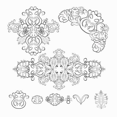 solemn: set of floral pattern black and white graphics vector illustration