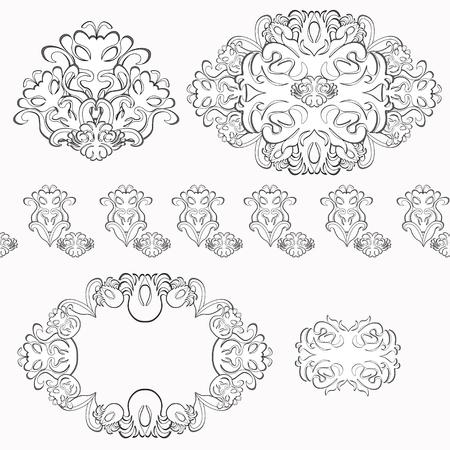 solemn: set of floral pattern black and white  vector illustration