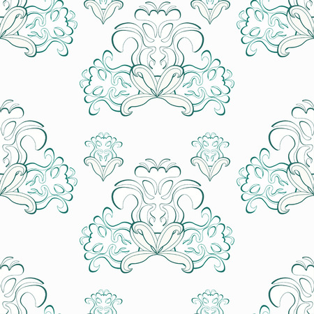 solemn: floral pattern blue and white seamless vector illustration